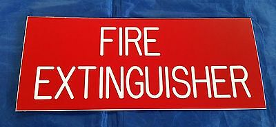 Fire Extinguisher Sign Red Plastic For Interior  Use - White Text - Made in USA