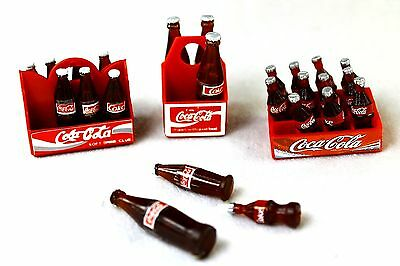 3 STYLE 4 8 12 COKE BOTTLE IN A CARRY CASE CRATE DOLLS HOUSE MINIATURE GIFT