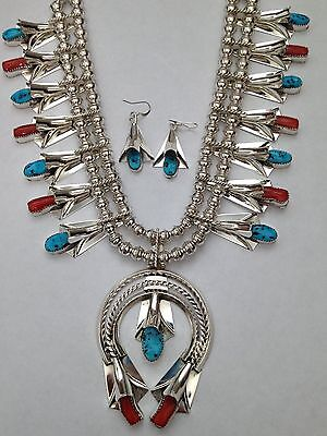 Sterling Silver Navajo Handmade Turquoise and Coral Squash Blossom Necklace Set