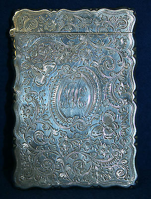 George Unite Birmingham Sterling Silver Bright Cut Butterfly Calling Card Case