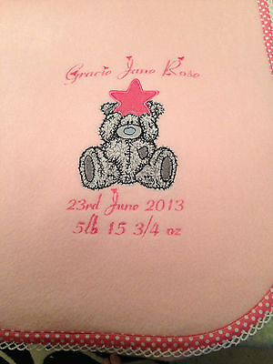 Personalised fleece baby blanket with cute teddy optional contrast edging
