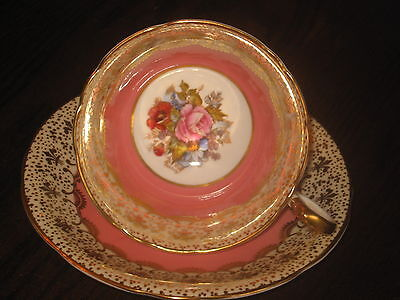 HANDPAINTED ROSES AYNSLEY CUP & SAUCER SIGNED J.A.BAILEY