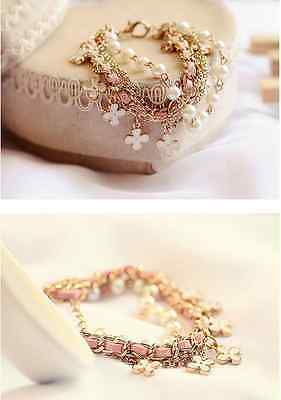 Girls Fashion Cute Four Leaf Clover Charms Alloy Leather Rope Pearl Bracelets