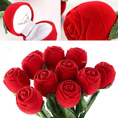 Newest Red Rose Flower Shape Jewelry Ring Earring Package Display Gift Box Case