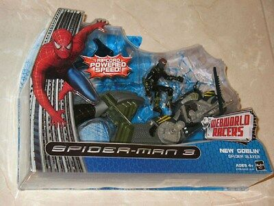 NIB Spiderman 3 figure New Goblin Ripcord Speed Cycle motorcycle and launcher