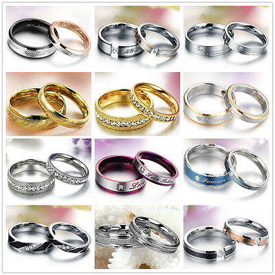 Wedding Couple Rings Stainless Steel ring Engagement Love Bands Matching