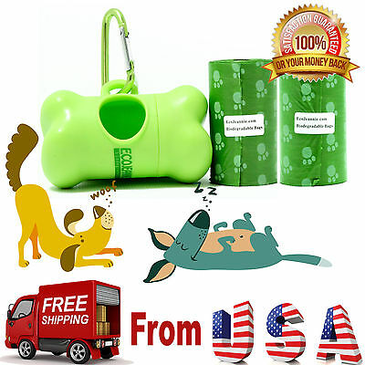 Top Rated EcoJeannie Biodegradable Dog Poopbags 40 Bags(20X2 Rolls)+1 Dispenser