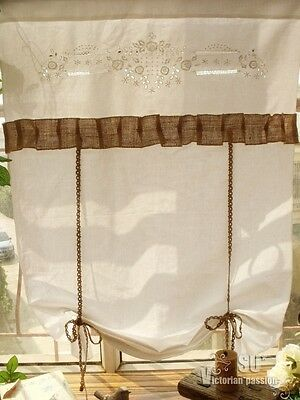 Door Flax LINEN Rustic Burlap Curtain London Shades - Embroidered Flower RUFFLED