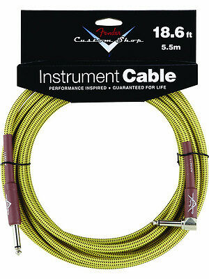 New Fender Custom Shop 18.6 Ft Right Angle Tweed Instrument Guitar Cable! RA 90