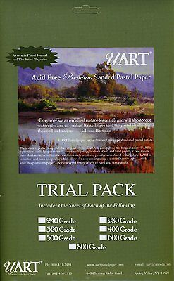 """New UART Trial Pack 6""""x11"""" (153 x 281mm) Sheets Perfect for Pastels"""