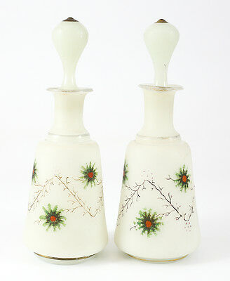 Pair of Milk Glass Frosted Art Glass Hand Painted Perfume Bottles; Gilt & Floral
