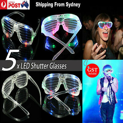 LED Costume Glasses Neon Glow Light Up Shutter Party Cosplay Sunglasses Eyewear