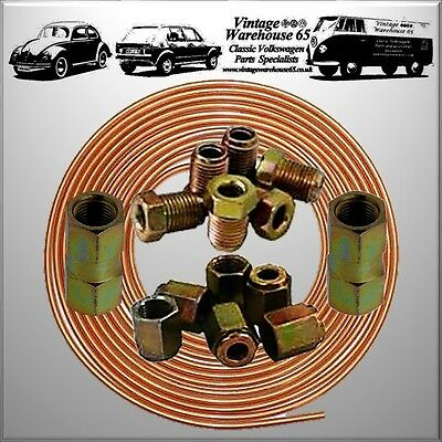 "Ford Fiesta 25ft 3/16"" Copper Brake Pipe Male Female Nuts Joiner Tube Joint Kit"