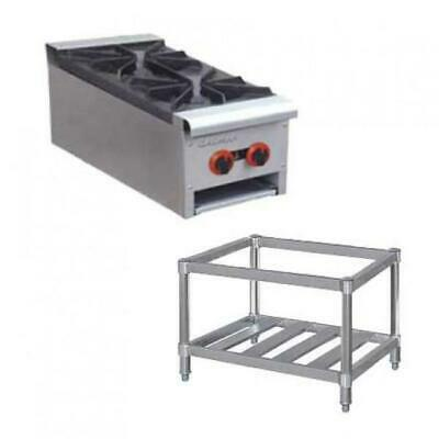 Gas Cooktop 2 Burner Hob with Stand Commercial Restaurant Stovetop Equipment NEW