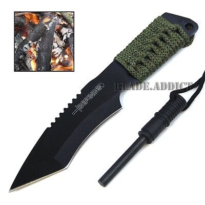 "7"" TACTICAL HUNTING SURVIVAL KNIFE w/ FIRESTARTER Combat Camping Bowie"