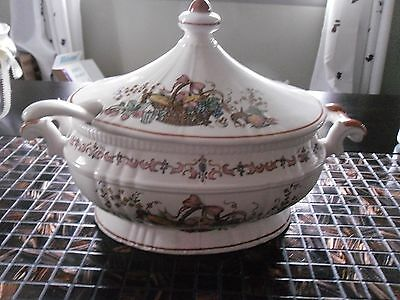 Vintage Soup Tureen White With Basket Of Fruit Onions And Other Designs 15in.L