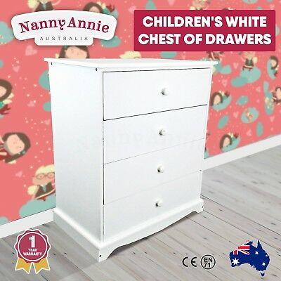 Kids Childrens Chest of Drawers White 4 Drawer Wardrobe Bedroom Furniture Wooden