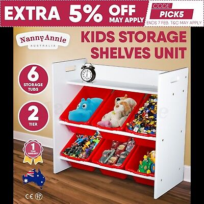Kids Storage Unit 2-Tier Shelves Toy Organiser Rack 6 Drawer Display Shelf Red