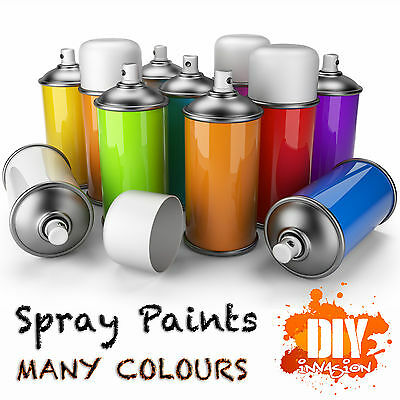 Spray Paint Cans - Many Colours - Black White Chrome Silver Gold Clear Pink Blue