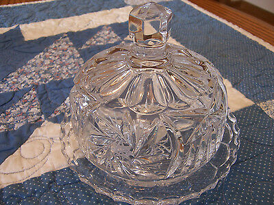 Elegant Cut Glass Round Covered Butter/Cheese Dish - Pattern or Maker ??