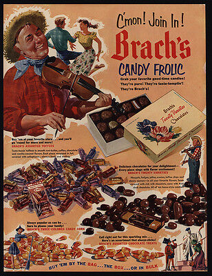1952 BRACH'S Candy - Man & Woman Square Dancing - Violin - Fiddle - VINTAGE AD