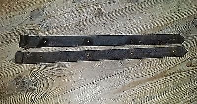 "Pair of Antique Strap Hinges Hand Forged - 2-1/4"" X 32""-34"" Barn Door Hinges"