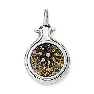 Coin Pendant .925 Sterling Silver & Bronze Charm Ancient Coins Widows Mite