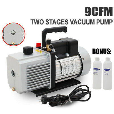9CFM 2 Stages Refrigerant Vacuum Pump Refrigeration Gauges Tools Air Condition