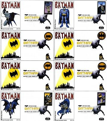 Batman 2014 Stamps On Eight First Day Covers With DCP Cancels On Aquila Cachets