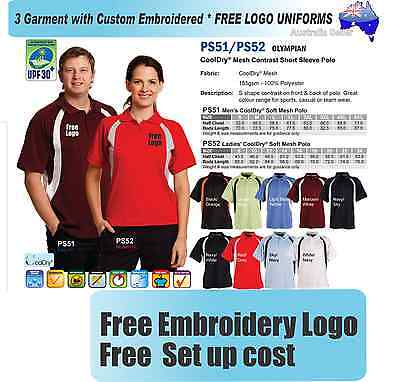 From 3 - 25 shirts Men Contrast Polo with Your Embroidered LOGO (Win PS51)