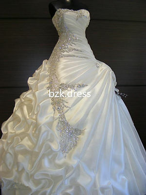 2014 New White/Ivory Crystal Beaded Wedding dress Bridal Gown custom size 2-28