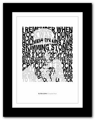 ELTON JOHN - Crocodile Rock ❤ song lyrics typography poster art print - A1 A2 A4