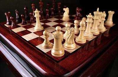 Staunton Series Weighted Chess Pieces & Board Combo in Bud Rosewood &Box Wood