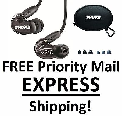 New Shure SE215-K Black Sound Isolating Earphones Earbuds In-Ear DJ Headphones!