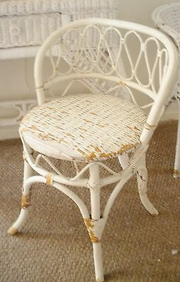 Vintage French Shabby Cottage White Wicker Rattan Bamboo Vanity Chair Seat Stool