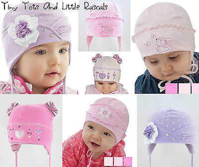 Infant Girls Toddlers Spring Autumn Cotton Elastic Hat Size 0 -24 mths 2-4 Years