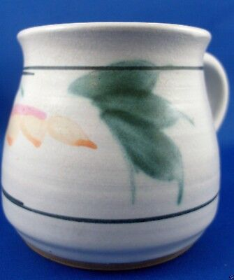 SIGNED Handcrafted STONEWARE POTTERY Floral Mug VG Retro - In Australia