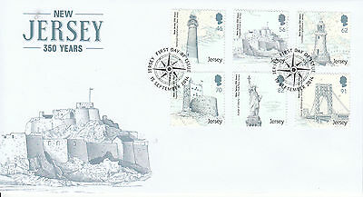 Jersey 2014 FDC New Jersey 350 Years 6v Set Cover Lighthouses Statue Liberty