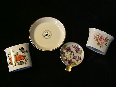 Vintage Bone China 4 Piece Cigarette Holders and Ashtrays