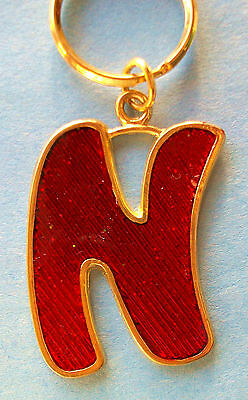 Metal Key Chain Key Ring * The Letter N * Gold Frame w/ Sparkle Red Inset * New