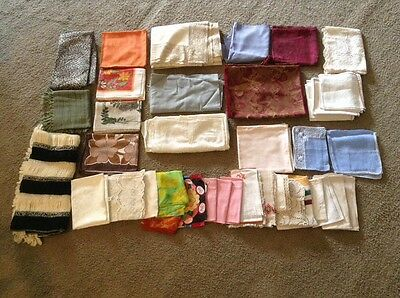 Large Lot Of Handkerchief Table Runners And Remnants - Vintage Craft Project - L