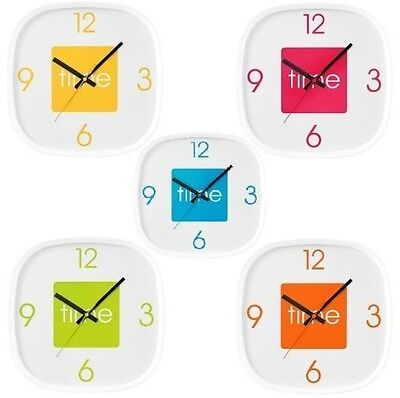 Arco Wall Clock Plastic Square Analogue Display Clock In Different Colour