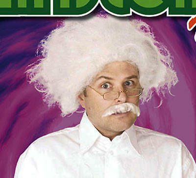 White Mad Scientist Wig Albert Einstein Professor Halloween Fancy Dress