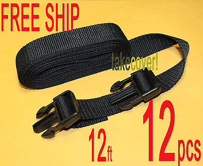 "12x BOAT COVER TIE DOWN STRAP KIT 1"" x 12' w/ 2 MALE ENDS ALL PURPOSE"