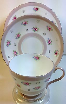 Shelley China  Trio in Forget-Me-Nots & Grey Crystals Pattern 13809 on Richmond