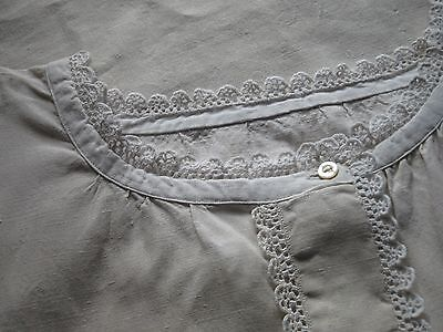 """ANTIQUE FRENCH LINEN NIGHTDRESS - LACE - Monogram """"LC"""" -Short Sleeved Nightgown"""