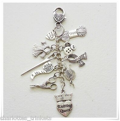 Knitting Queen Scissors Keeper Needle Wool Scarf Buttons Tape Key hold Bag Charm