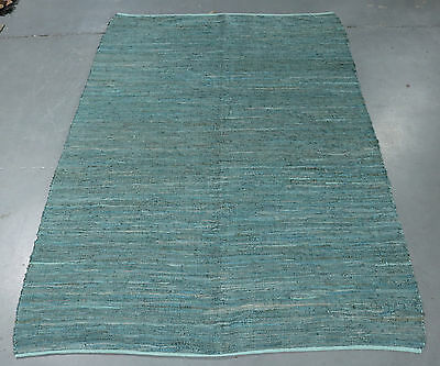Turquoise Leather Upcycled Kilim Hand Woven Indoor / Outdoor Kilim Rug