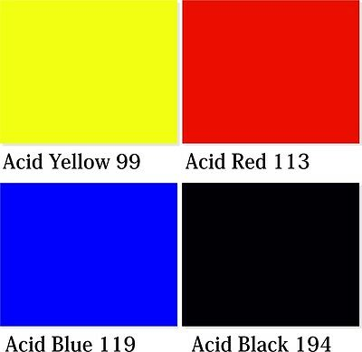 Acid Dyes 250 g, 4 colours for wool, silk, feathers, nylon