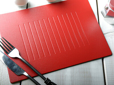 Set of 6 RED EMBOSSED Leatherboard PLACEMATS